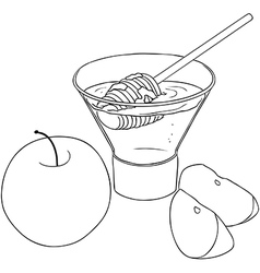 Rosh hashanah honey with apples coloring page vector