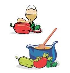 Vegetables egg cooking vector