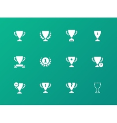 Awards icons on green background vector