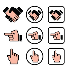 Handshake pointing hand cursor hand icons set vector image