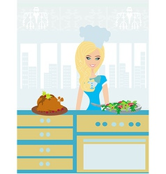 Beautiful lady serving dinner vector