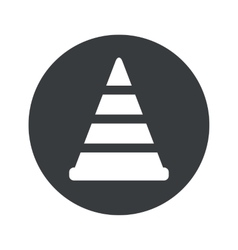 Monochrome round traffic cone icon vector