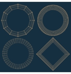 Abstract decorative frame mesh poligonal vector