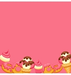 Background vanilla ice cream strawberry cupcake vector