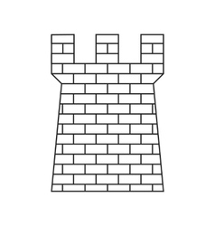 Ancient brick defense tower thin line icon vector