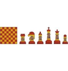 Chess pieces with Spain flag vector image