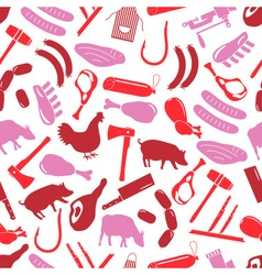 butcher and meat shop icons seamless red pattern vector image