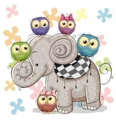 Elephant and owls vector