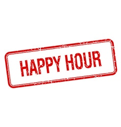 Happy hour red square grungy vintage isolated vector
