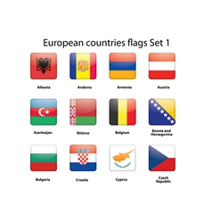 European countries flags set 1 vector