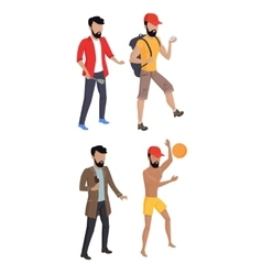 Set summer male characters vector
