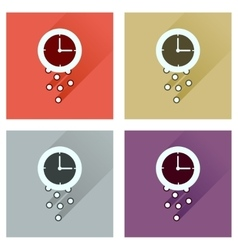 Concept of flat icons with long shadow time is vector