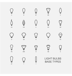 Led light bulb base type icon set vector