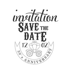 Anniversary party black and white invitation card vector