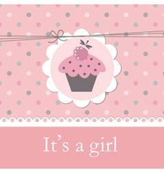 Baby shower with cupcake vector image vector image