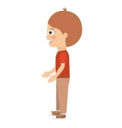 boy standing looking aside isolated icon design vector image