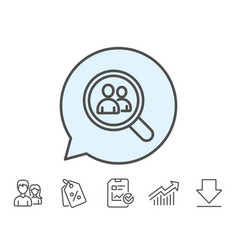 Business recruitment line icon search employees vector