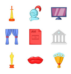 Cine-film icons set cartoon style vector