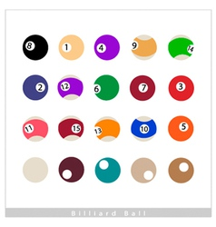 Complete Set of Billiard Balls on White Background vector image vector image