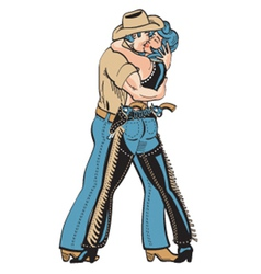 Cowboy and cowgirl vector