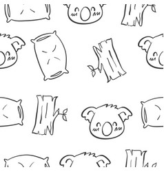 Cute koala hand draw pattern style vector