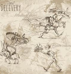 Delivery of different food vector image