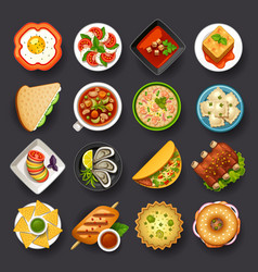 Dishes icon set-2 vector
