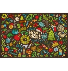 Doodle cartoon set of new year and christmas vector