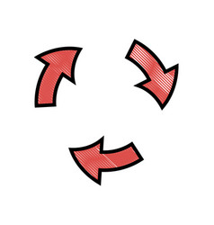 Drawing arrows rotation process symbol design vector