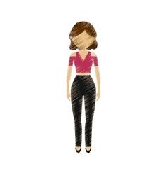 Drawing avatar woman elegance stylish fashion vector
