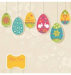Easter background with eggs hanging on the ropes vector