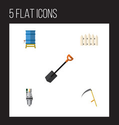 Flat icon garden set of spade cutter wooden vector