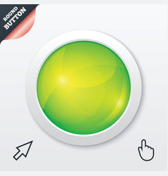Glass button Green shiny round symbol Circle vector image