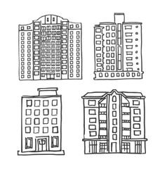 Hand drawn multistorey houses vector image