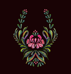 Hand drawn vintage floral ornament on a black vector