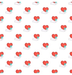 Hand holding red heart pattern cartoon style vector image vector image