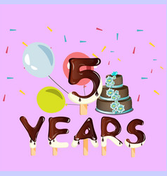 happy birthday five 5 year design with number vector image