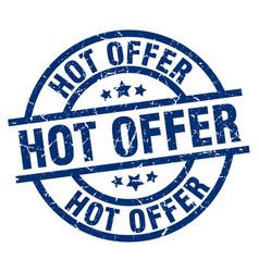 Hot offer blue round grunge stamp vector