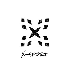 letter x logo with dot white noise effect vector image