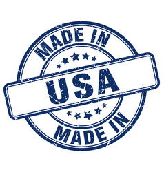 Made in usa blue grunge round stamp vector