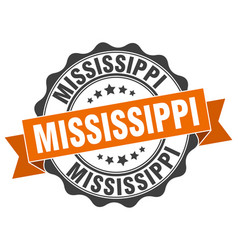 Mississippi round ribbon seal vector