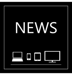 News on all mobile devices - laptop smart phone vector image vector image