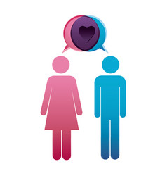 Pictogram male and female with bubble dialog box vector