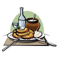 potato pancakes with sour cream vector image vector image