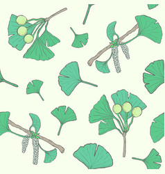 Seamless pattern with ginkgo biloba branches and vector