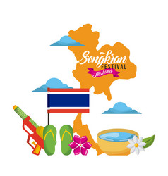 songkran festival thailand map landmark flag vector image