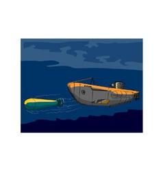 Submarine boat retro vector
