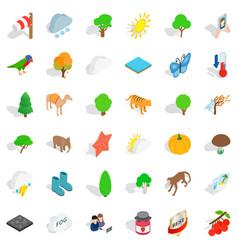 Terrain icons set isometric style vector