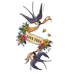 Two swallows fly and carry ribbon in flowers free vector