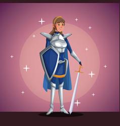 Warrior princess in costume party in spotlight vector